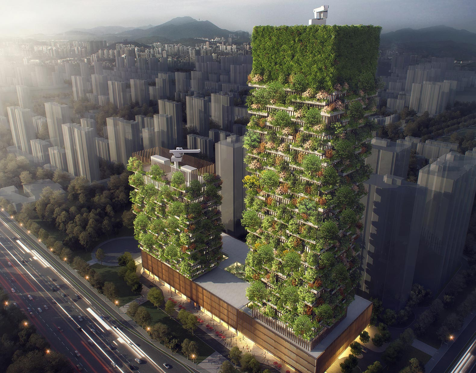 vertical forest, nanjing vertical forest, china building made from trees, china breathing plant building, china building that lowers pollution
